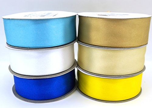 - 6 Chanukah, Hanukkah, Jewish or Scandinavian Flags Colors Ribbons 25 Yard Satin or 50 Yard Organza Rolls, Choose Width (1/2
