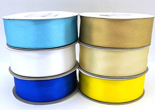 - 6 Chanukah, Hanukkah, Jewish or Scandinavian Flags Colors Ribbons 25 Yard Satin or 50 Yard Organza Rolls, Choose Width (1/2