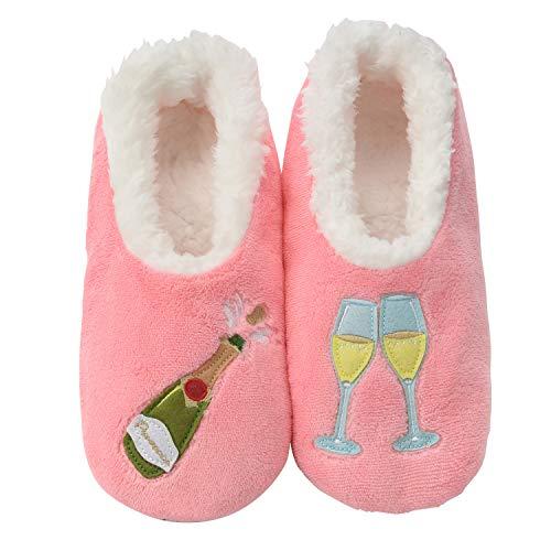 Snoozies Womens Classic Splitz Applique Slipper Socks | Prosecco Pink | -