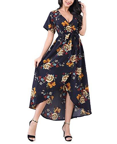 MINTLIMIT Short Sleeves Wrap V Neck Belted Empire Waist Asymmetrical High Low Bohemian Party Maxi Dress(Floral,Size M)