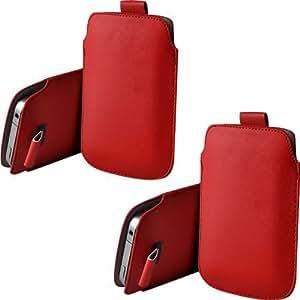 ONX3 Twin Pack Blackberry Q20 PU de cuero protector Tab Pouch Funda Piel extracción (Red)