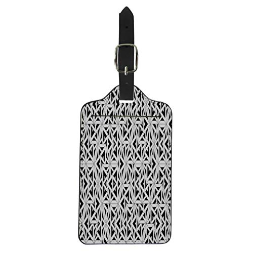 Semtomn Luggage Tag Modern Sacred Geometry Black and White Abstract Monochrome Sheets Suitcase Baggage Label Travel Tag Labels ()