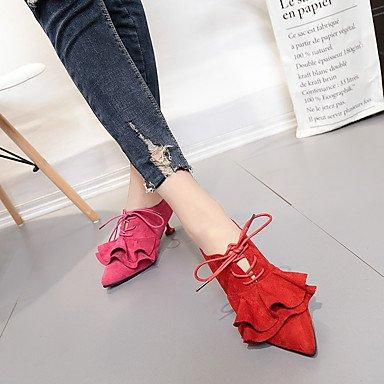Rojo Tacones Primavera Verde Otoño Cordón Zapatos Confort Rosa Tacón Casual AIURBAG Caqui Tejido Fucsia Con Para Mujer Bajo wq16nxqAp4