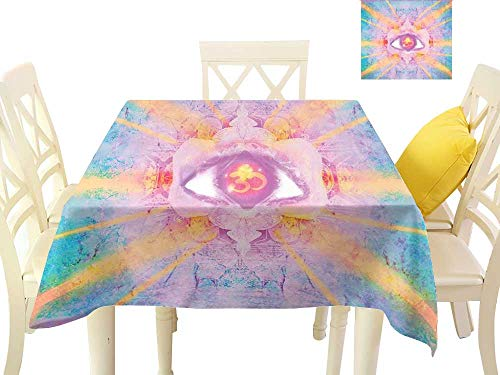Angoueleven Mandala,Tablecloth Inner Third Eye Sign Sun and Clouds Zen Karma Wisdom Concept Illustration,Table Cloth for Square Tables W 50