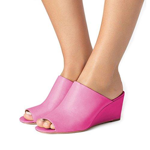 FSJ Women Sexy Peep Toe Mule Style Wedge Sandals Slip on Shoes for Casual Size 8.5 Hot Pink by FSJ