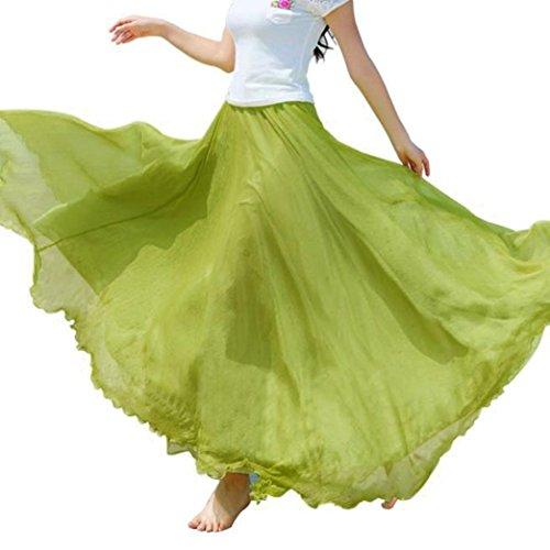 Goodtrade8 GOTD Women Elastic Waist Chiffon Maxi Skirt Beach Half Long Dress One Fit Size (Light Green) by Goodtrade8