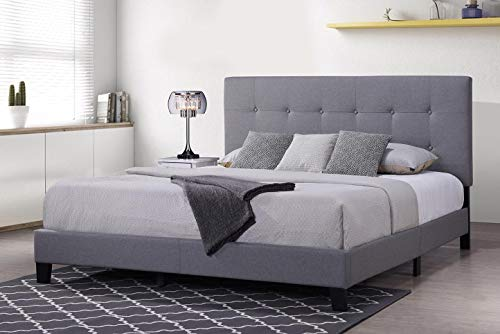 FLIEKS Harper&Bright Designs Upholstered Platform Bed Frame Mattress Foundation with Wooden Slat Support and Tufted Headboard, King - Light Grey