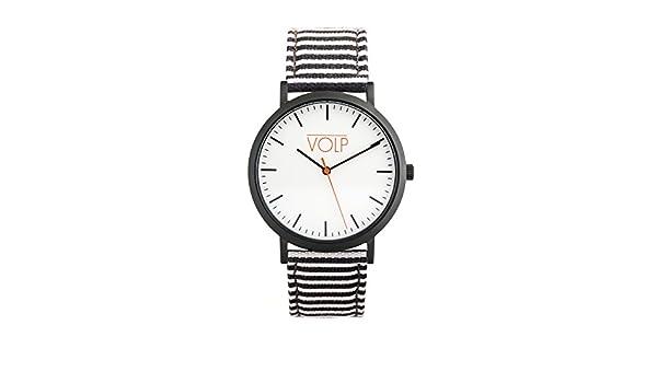 Reloj Vegano Unisex de Pulsera. VOLP Negro/Rayas Blanco y Negro, de Acero Inoxidable (42 mm). Correas Intercambiables de Piel Vegana: Amazon.es: Relojes