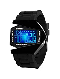 Auspicious beginning LED Personalized Creative Waterproof Noctilucent Airplane Black Digital Watch Size S