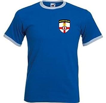 Northern Irlanda Retro Estilo Nacional Equipo De Fútbol Camiseta De Fútbol Azul Camiseta - Todo Tallas