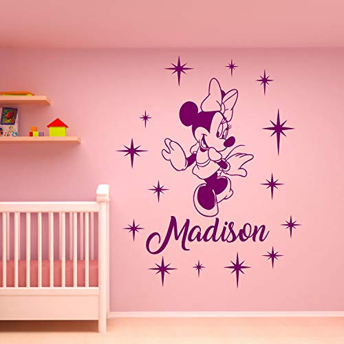 Wall Decals Minnie Mouse Wall Decal Personalized Girl Name Vinyl Sticker Decals Name Minnie Mouse Nursery Wall Decor Kids Room Childrens Bedroom Made in USA