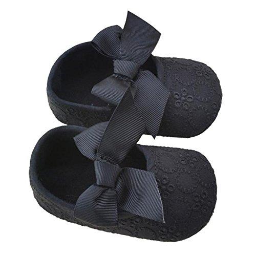 Tefamore Zapatos Cuna De Bebe Algodón De La Cinta Bowknot Soft Bottom Flor Prewalker Niñas lactantes Negro