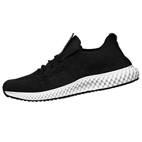 Men's Knit Running Shoes Lightweight Non-Slip Mesh Shoes Breathable Athletic Casual Tennis Waking Gym Shoes by Lowprofile Black