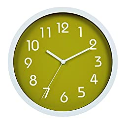 HITO Modern Colorful Silent Non-ticking Wall Clock- 10 Inches (Green)