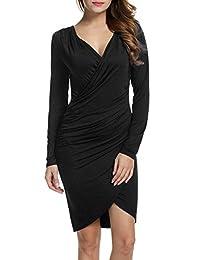 ANGVNS Women Long Sleeve Deep V-neck Pencil Dress Bodycon Solid Slim Dress