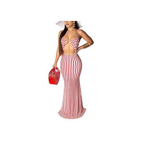 Sexy Beach Style Women Dress Solid Halter Deep V Neck Sleeveless Hollow Out Maxi Trumpet Dress,Pink,L