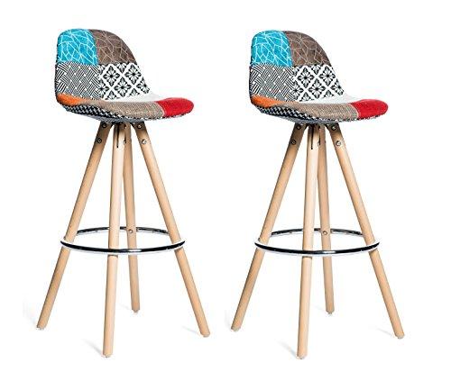 Meubletmoi Lot 2 Tabourets De Bar Patchwork Tissu Design Multicolore
