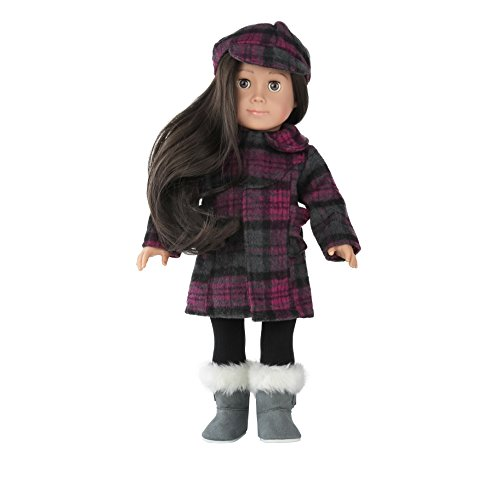 WWS Toy - Doll Clothes and Accessories For 18 inch Dolls Such as American Girl Doll Accessories,Winter Set Includes 4 Pieces - X1 Plaid Coat, X1 Tights, X1 Plaid Cap - 18 Inch Set Doll Coat