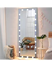 """Full Length Mirror with Lights, 63"""" x 24"""" Standing Floor Mirror, LED Lighted Vanity Mirror, Wall Mounted Hanging Mirror, Large Dressing Body Mirror for Bedroom Living Room"""