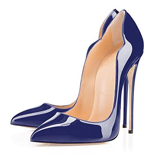 EDEFS Damen Spitze Zehe 12cm High Heel Pumps Stilettos Schuhe Übergröße Sexy Pumpen Blau