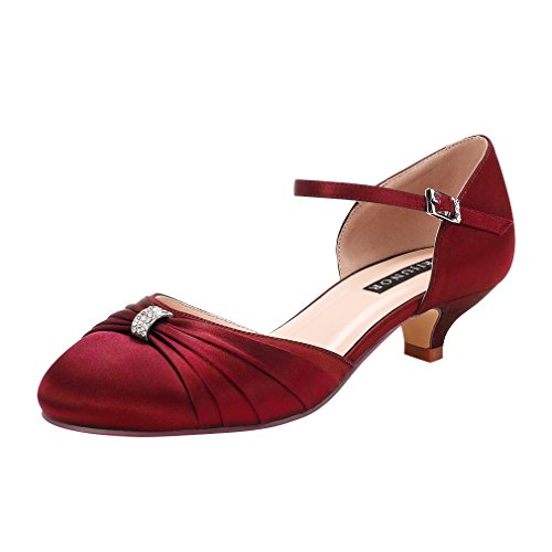 ERIJUNOR E0713B Women Comfort Low Kitten Heel Buckle Ankle Strap Satin Evening Prom Bridal Wedding Shoes Burgundy Size 8