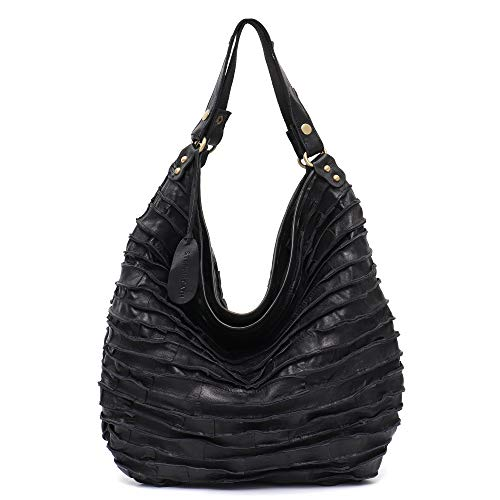 417bb827a4f Genuine Leather Women s Shoulder Bag STEPHIECATH Large Casual Soft Real  Leather Skin Tote Vintage Snap Basket Carry Bag (BLACK)