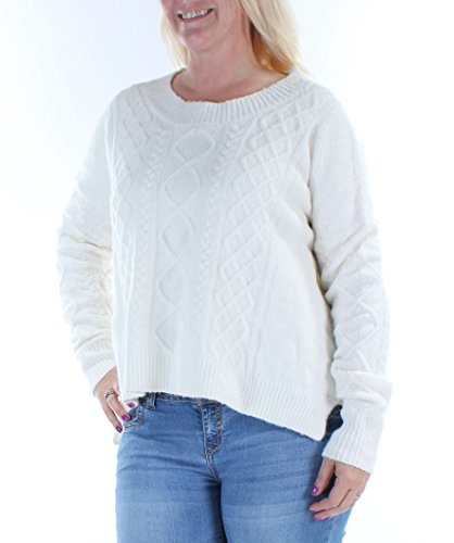 French Connection Women's Felted Cable Knits Sweater, Winter White, Large