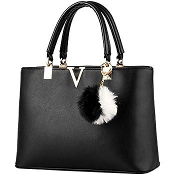 3c5e5db39f3c LIZHIGU Faux Leather Top-handle Bag Fashion Handbags Tote Bag Purse Black  8119