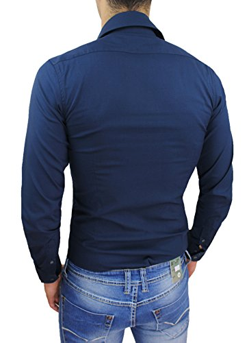 Camicia uomo sartoriale blu scuro slim fit aderente maniche lunghe casual elegante
