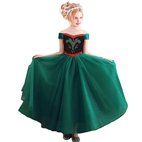 CQDY Girls Anna Princess Dress Elsa Snow Party Queen Halloween Costume Fancy Cosplay Dress -