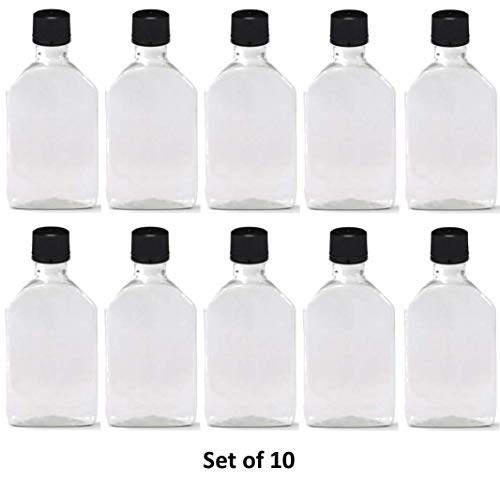 50 ml (1.7 Oz.) Premium Quality Flask Clear Plastic PET Bottle for Beverage, Alcohol or Oil with Black Temper evident caps (10 Pack) (Bottles Mini Rum Alcohol)