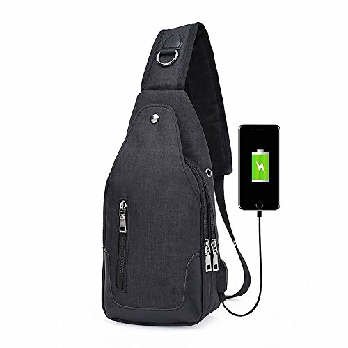 Chest Casual Multifunctional Black Messenger Crossbody Charge Canvas Sling Usb Holder Purse Bag Pocket With qrtwr5A