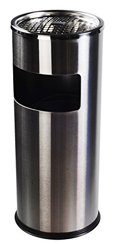 AMENITIES DEPOT Luxurious Stainless Steel Trash Can Garbage Bin with Ashtray(GPX-12B) (Trash Can Smokers)