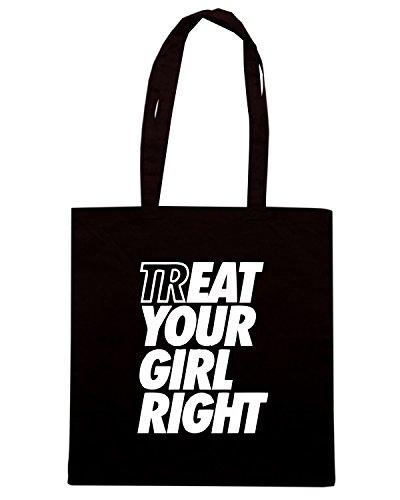 T-Shirtshock - Bolsa para la compra ENJOY0141 Treat Eat Your Girl Right Negro