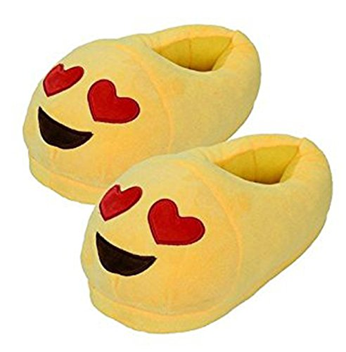 Emoji Red Heart Slippers Plush Cotton Indoor Shoe For Kids & Women Non-Skid Foot pads We Pay Your Sales Tax