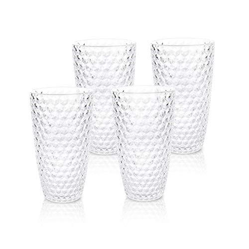 BELLAFORTE – Shatterproof Tritan Tall Tumbler Clear – 19oz, Set of 4, Laguna Beach Drinking Glasses – Dishwasher Safe…