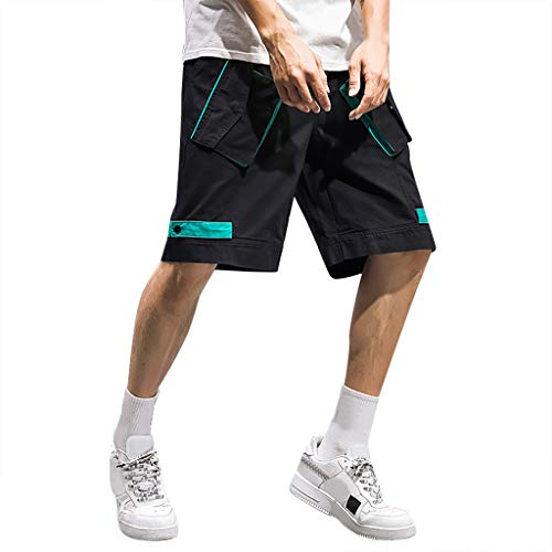 RoDeke Men's Sport Pure Color Button Casual Loose Sweatpants Drawstring Short Pants Black