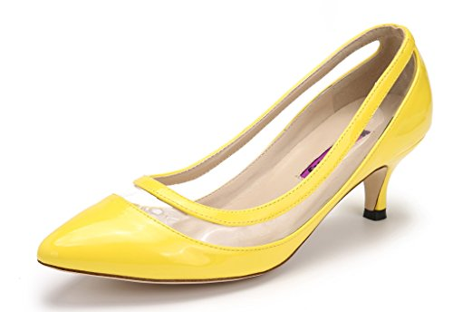 Katypeny Womens Elegant Pure Color Shallow Mouth Slip On Pointed Toe Kitten Heel Pump Shoes Yellow