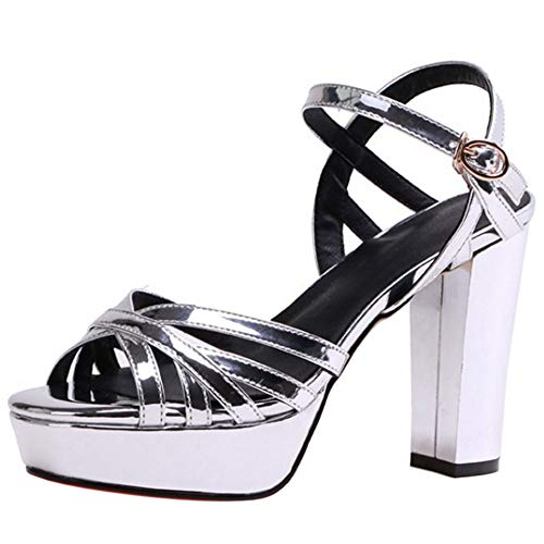 Argent Epais Sandale Razamaza Mode Femmes Sandales Peep Talons Toe qBW7H6nwW