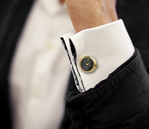 Peugeot Men's 14K Gold Plated Cuff Link Real Working Black Face Watch 656