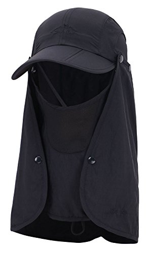 (EPYA UV Protection Hat UV Quick-Drying Baseball Cap Neck Flap Face Cover,Black)