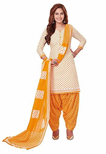 Miraan Women Cotton Unstitched Dress Material (BANDCOL827, Off-White, Free Size)