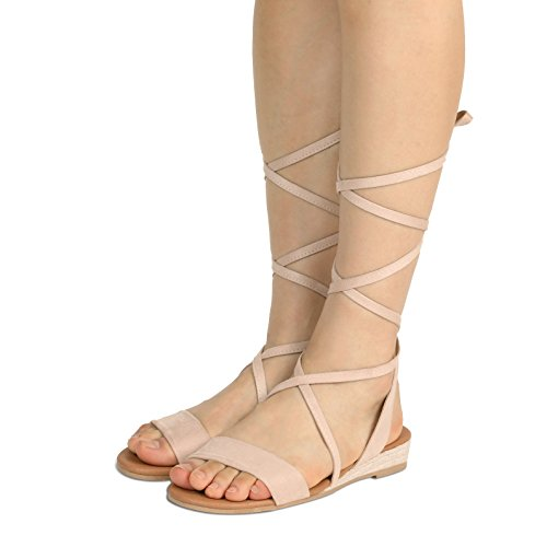 DREAM PAIRS Women's Formosa_3 Nude Low Platform Wedges Mid Calf Tie Up Sandals Size 5.5 B(M) US