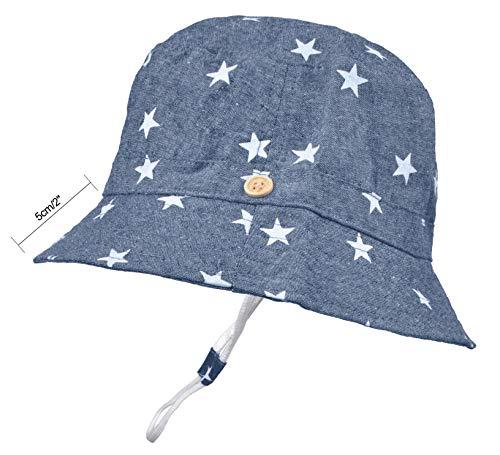 Baby Sun Hat Toddler Kids UPF 50+ UV Ray Sun Protection Wide Brim Bucket Swimwear Animal Hat (1-2 Years, Dark Blue Stars)