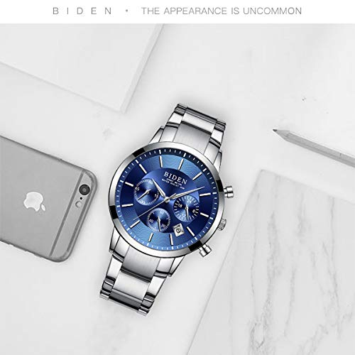 Watch,Mens Watches,Sport Casual Fashion Business Wrist Watch,Stainless Steel Waterproof Silver Blue Multifunctional Chronograph by ASWANWATCH (Image #4)