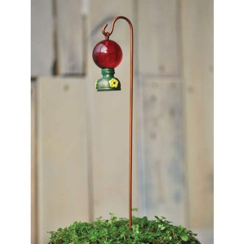 Fiddlehead Fairy - Hummingbird Feeder with Shepherds Hook 8.5
