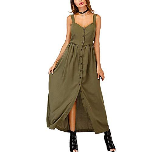 Lana&Kalf Single Breasted Cami Dress Sleeveless Women Army Green Pleated Straps Shift Dress