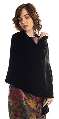 Elizabetta Womens Black Silk Velvet Evening Wrap Shawl - Made in Italy (Sophia Black) by Elizabetta