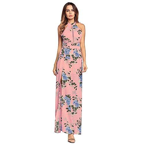 Europeo Lian Chiffon Spiaggia Dimensioni Da Scoperte Colore Americano Stile In Spalle Con Blu Rosa Abito E M Backless Xq1qB
