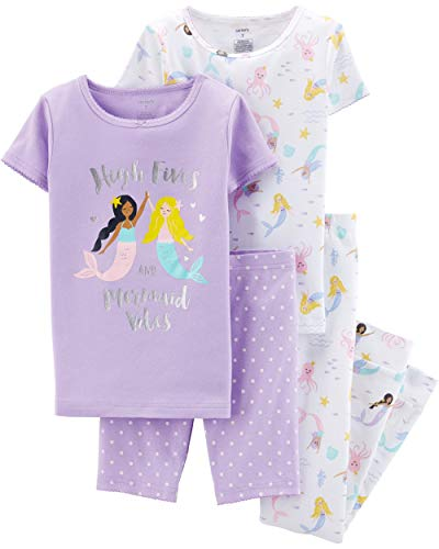 Carter's Girls' 4-Piece Snug Fit Cotton Pajamas (Purple/Mermaid Vibes, 8) -